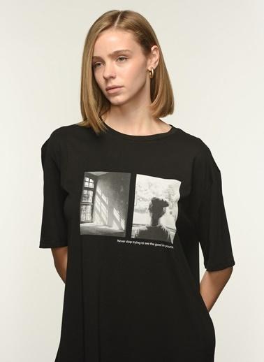 NGSTYLE Ngkaw21Ts0003 Baskılı Oversize Tshirt Siyah